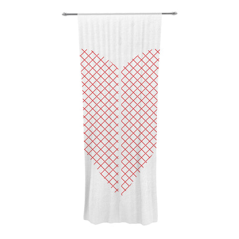 "Belinda Gillies ""Cross My Heart"" Red White Decorative Sheer Curtain - KESS InHouse  - 1"