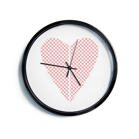 "Belinda Gillies ""Cross My Heart"" Red White Modern Wall Clock"