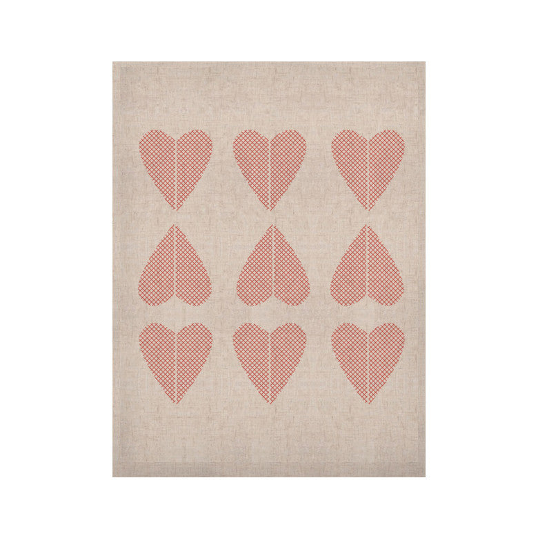 "Belinda Gillies ""Cross My Heart Multiple"" Red Pattern KESS Naturals Canvas (Frame not Included) - KESS InHouse  - 1"