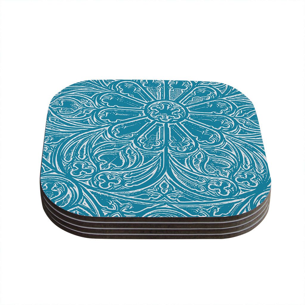 "Belinda Gillies ""Pitter Pattern"" Teal Blue Coasters (Set of 4)"