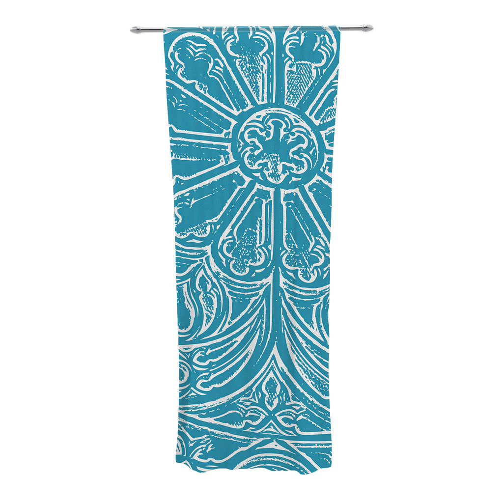 "Belinda Gillies ""Pitter Pattern"" Teal Blue Decorative Sheer Curtain - KESS InHouse  - 1"