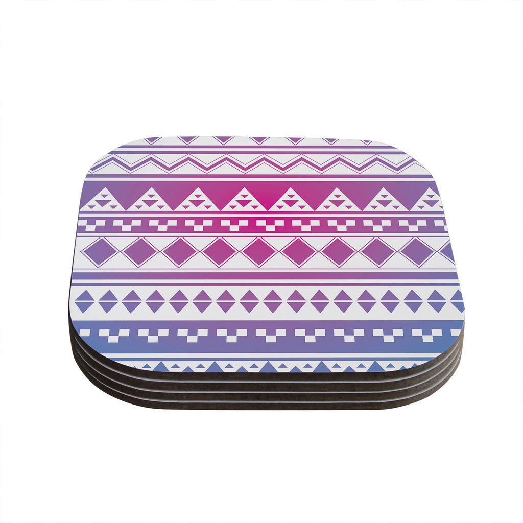 "Belinda Gillies ""Rainbow Aztec"" Purple Blue Coasters (Set of 4)"
