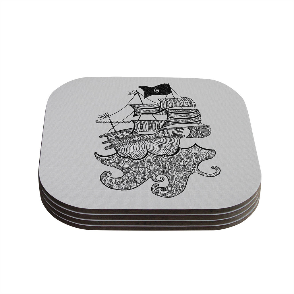 "Belinda Gillies ""Ships Ahoy"" Gray Nautical Coasters (Set of 4)"