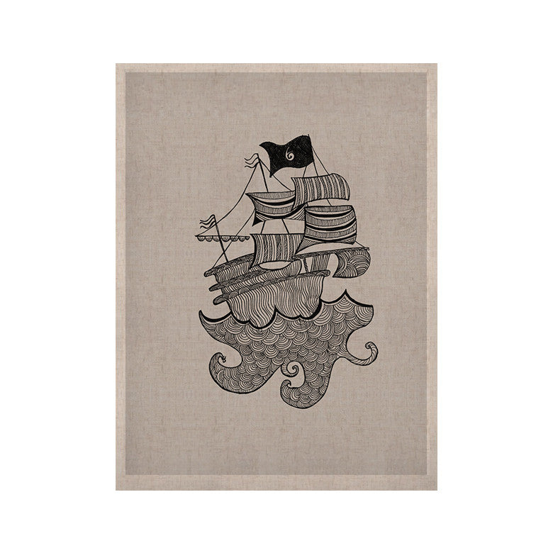 "Belinda Gillies ""Ships Ahoy"" Gray Nautical KESS Naturals Canvas (Frame not Included) - KESS InHouse  - 1"