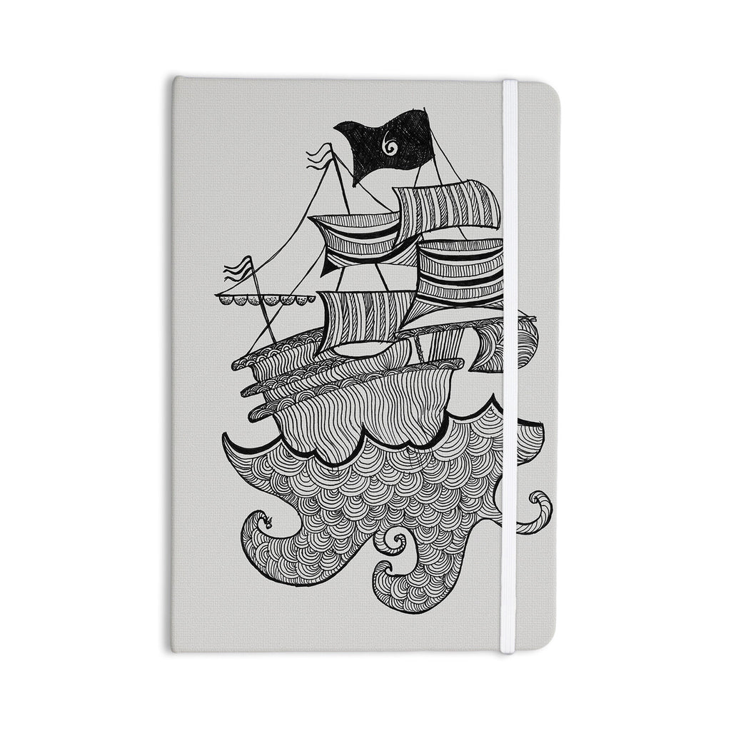 "Belinda Gilles ""Ships Ahoy"" Gray Nautical Everything Notebook - KESS InHouse  - 1"