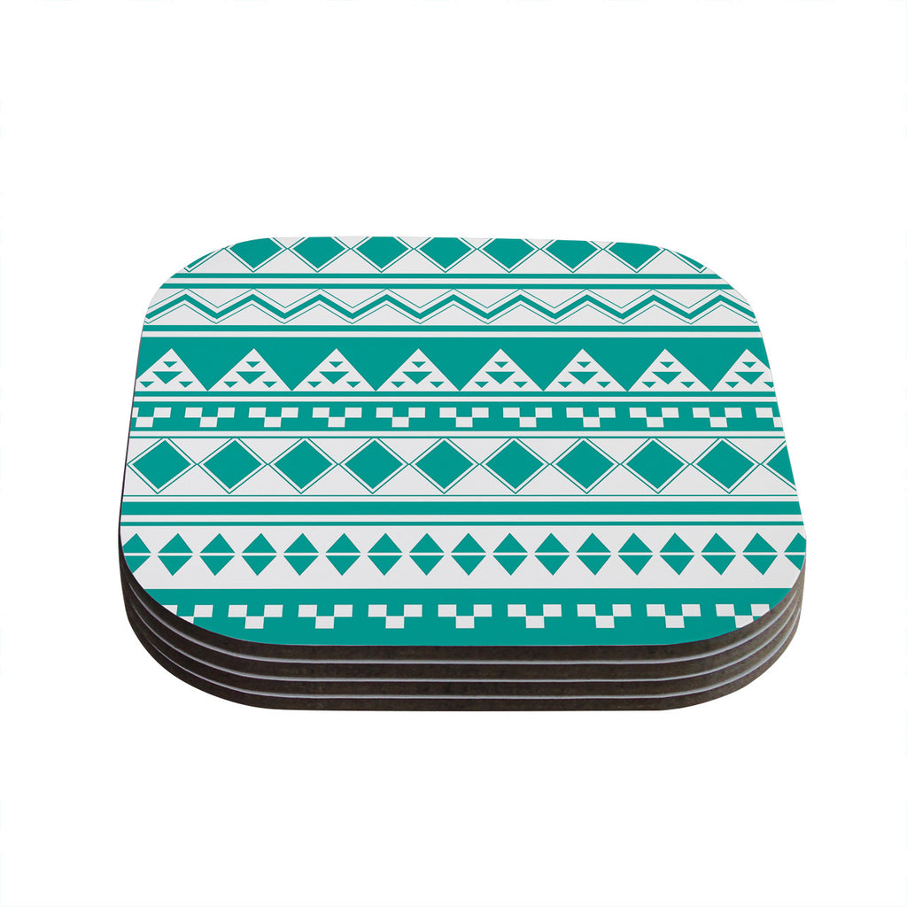 "Belinda Gillies ""Turquoise Aztec"" Teal Green Coasters (Set of 4)"