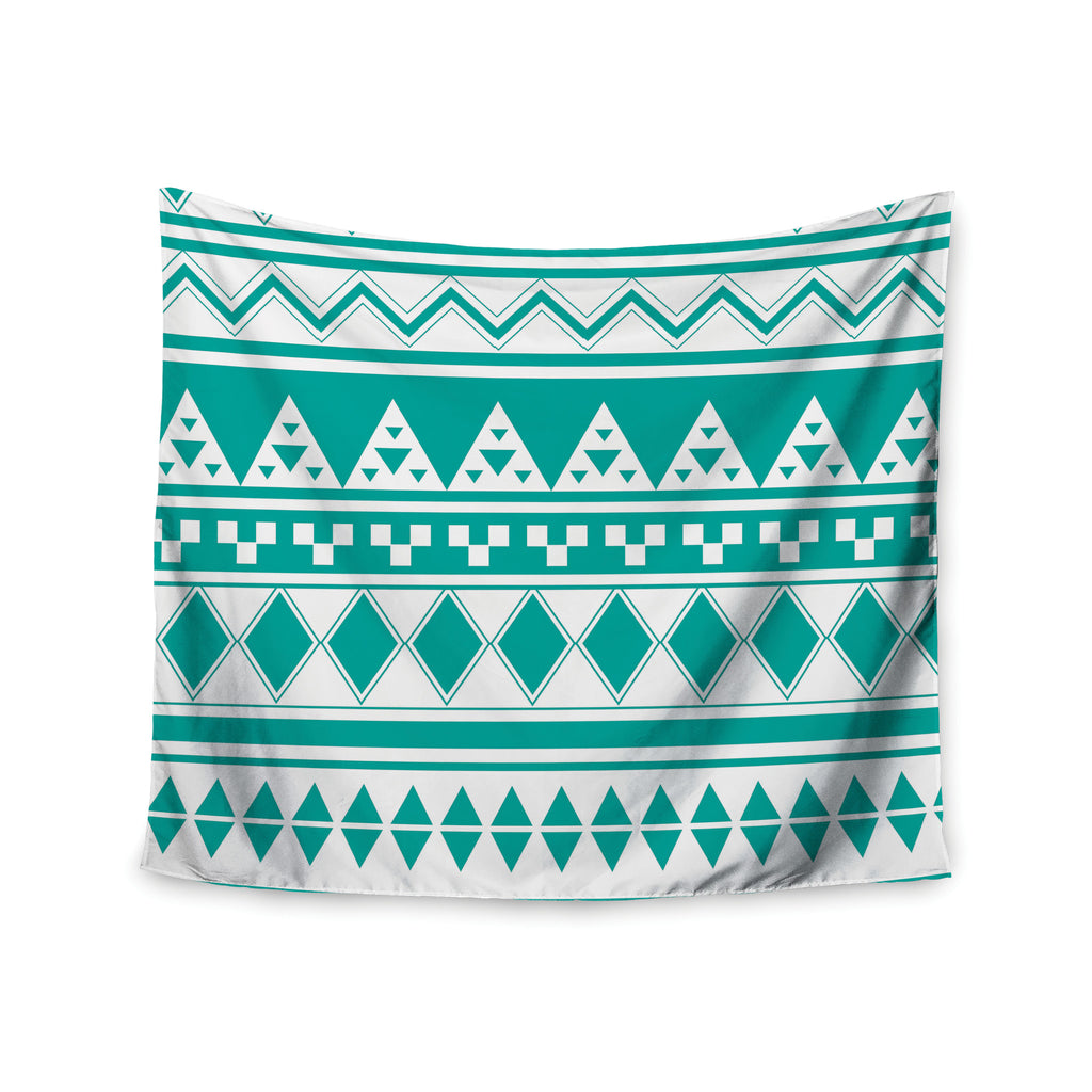 "Belinda Gilles ""Turquoise Aztec"" Teal Green Wall Tapestry - KESS InHouse  - 1"