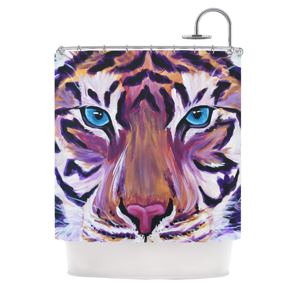 "Brienne Jepkema ""Purple Tiger"" Orange White Shower Curtain - Outlet Item"