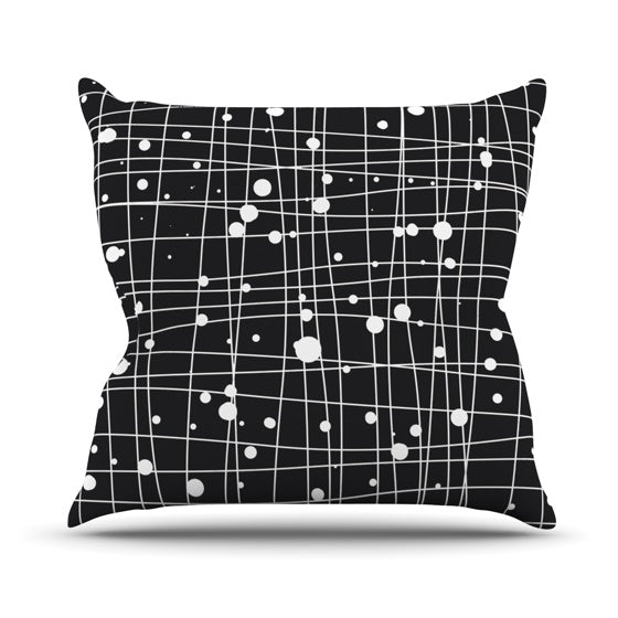 "Budi Kwan ""Woven Web Mono"" Throw Pillow - KESS InHouse  - 1"