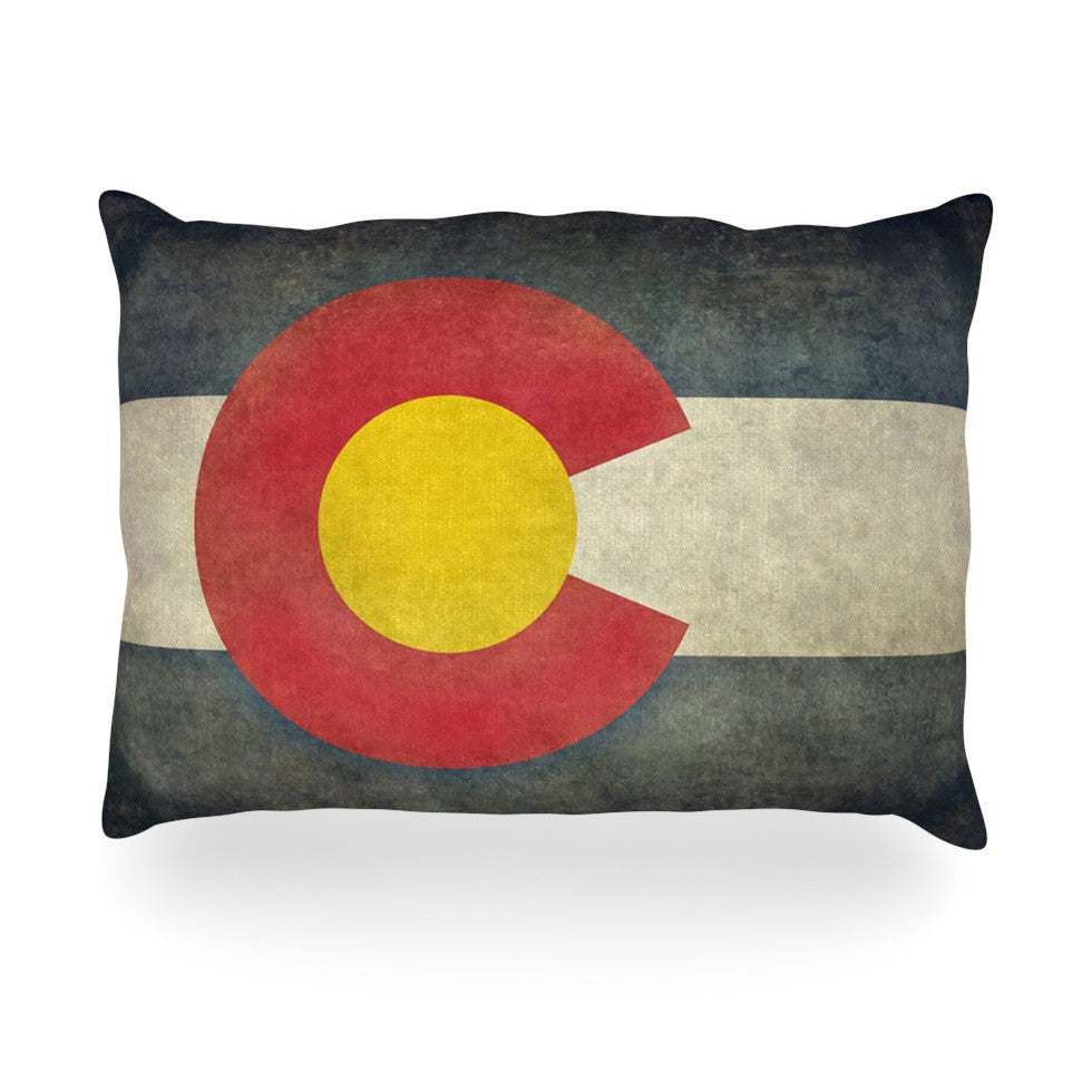 "Bruce Stanfield ""State Flag of Colorado"" Black Red Oblong Pillow - KESS InHouse"