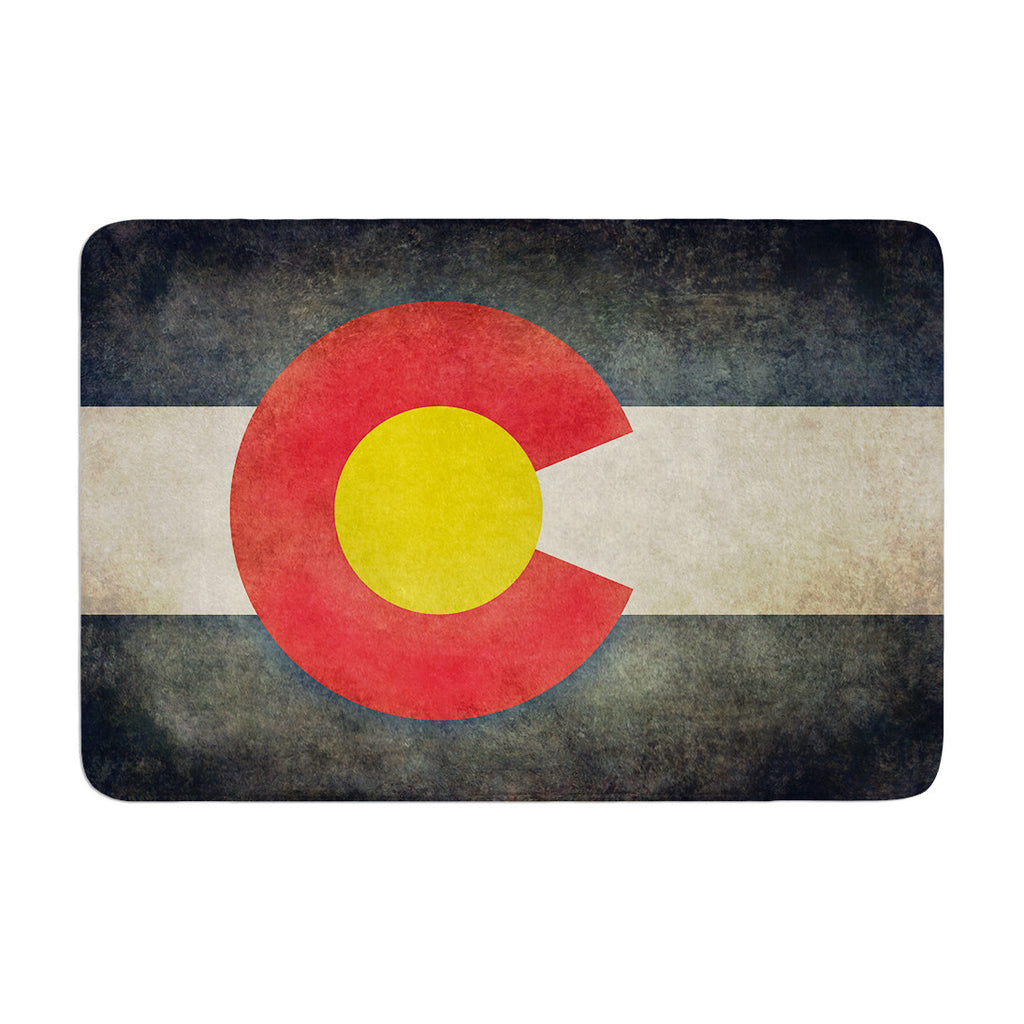 "Bruce Stanfield ""State Flag of Colorado"" Black Red Memory Foam Bath Mat - KESS InHouse"