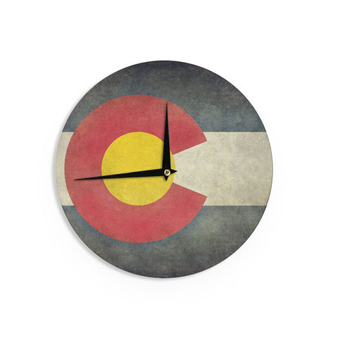"Bruce Stanfield ""State Flag of Colorado"" Black Red Wall Clock - Outlet Item"