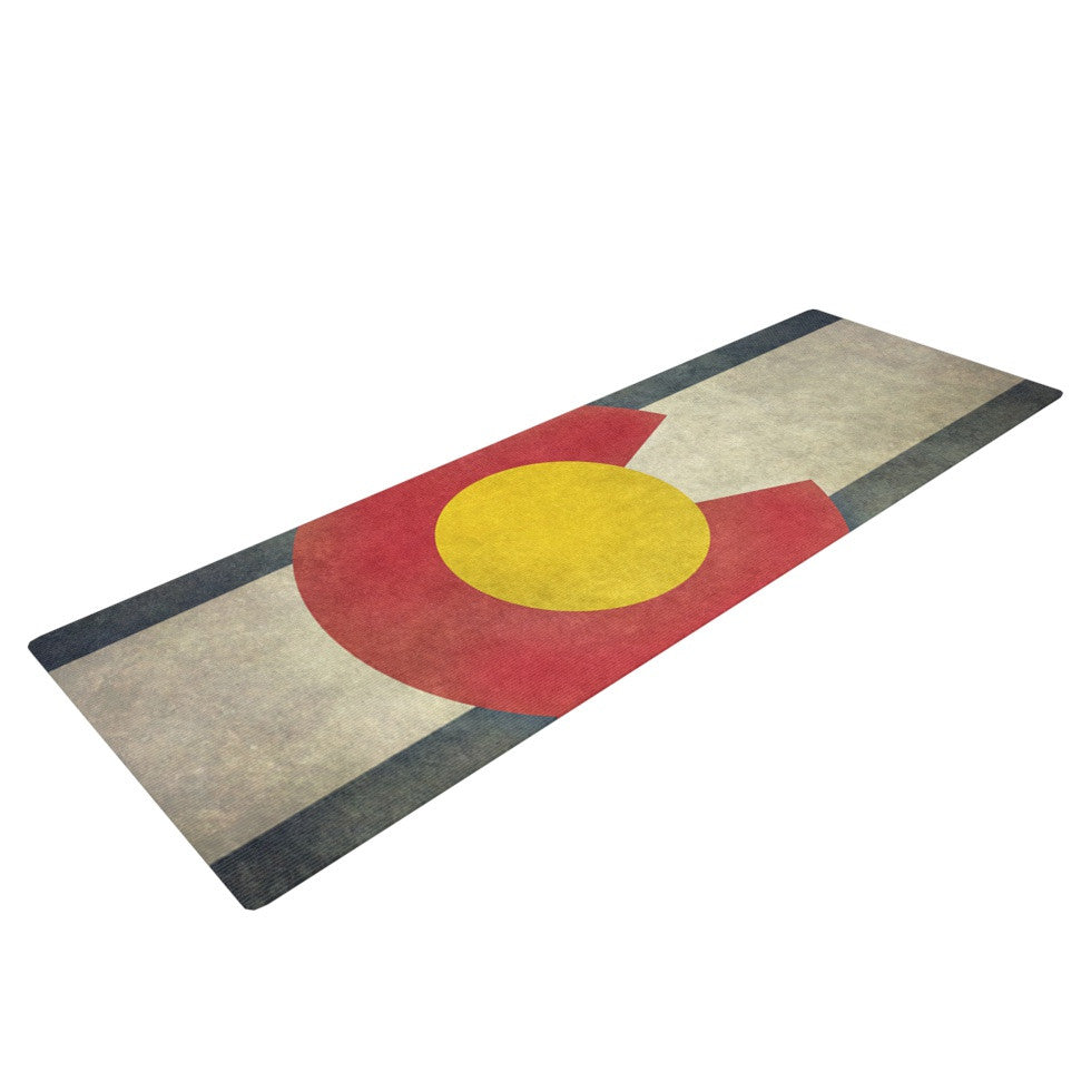 "Bruce Stanfield ""State Flag of Colorado"" Black Red Yoga Mat - KESS InHouse  - 1"