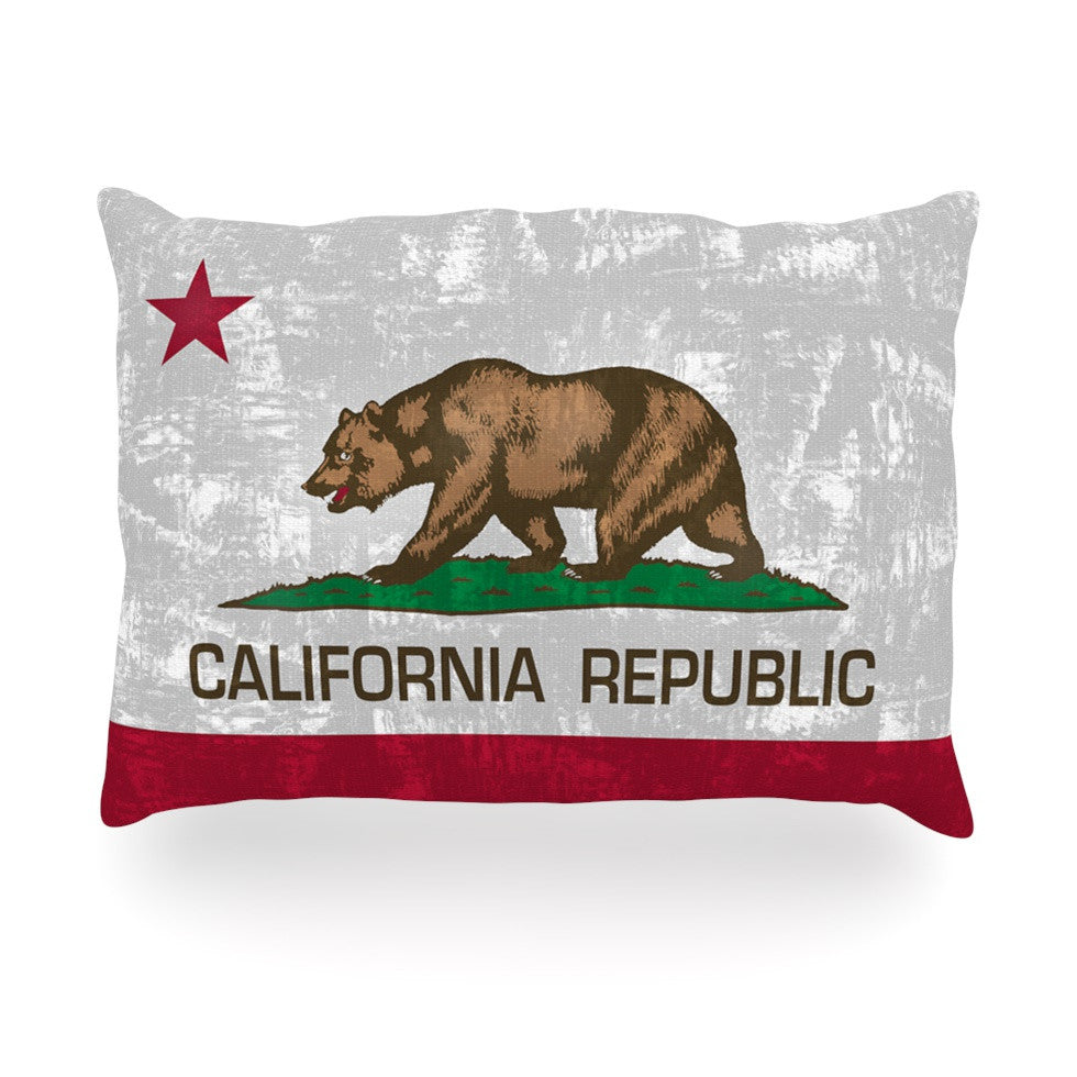 "Bruce Stanfield ""California Flag"" Gray Red Oblong Pillow - KESS InHouse"
