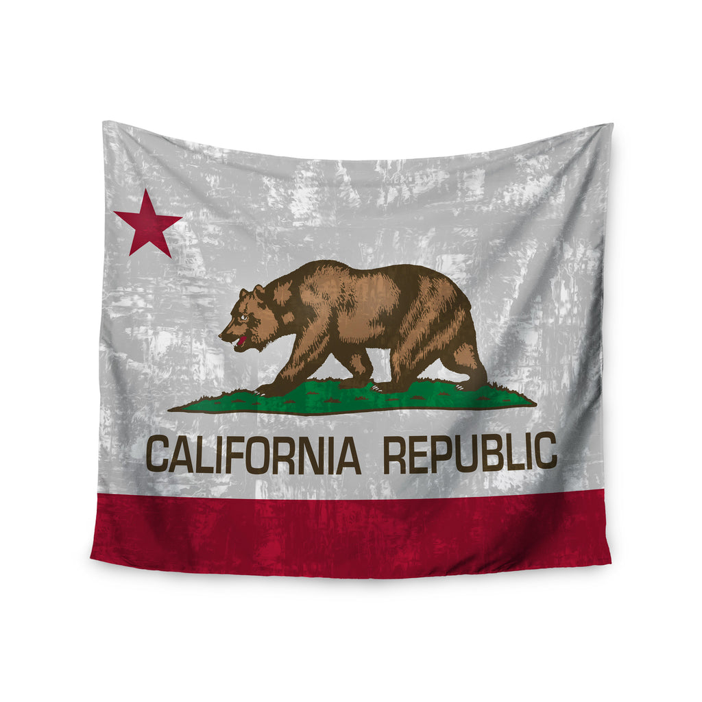 "Bruce Stanfield ""California Flag"" Gray Red Wall Tapestry - KESS InHouse  - 1"
