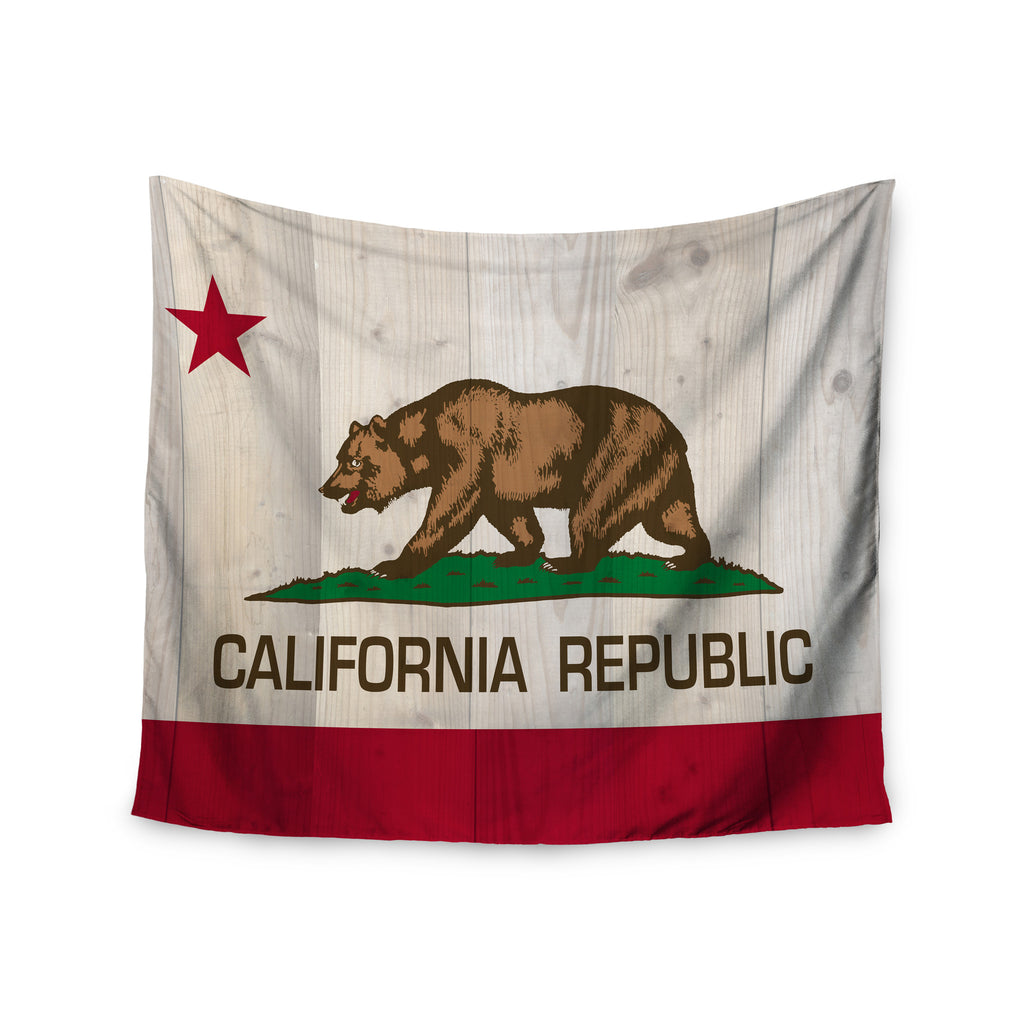 "Bruce Stanfield ""California Flag Wood"" Brown Wall Tapestry - KESS InHouse  - 1"