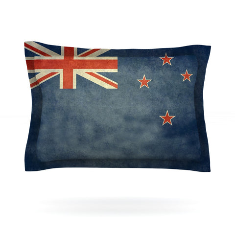 "Bruce Stanfield ""Flag of New Zealand"" Blue Pillow Sham - Outlet Item"
