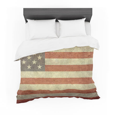 "Bruce Stanfield ""Flag of the US Retro"" Rustic Featherweight Duvet Cover - Outlet Item"