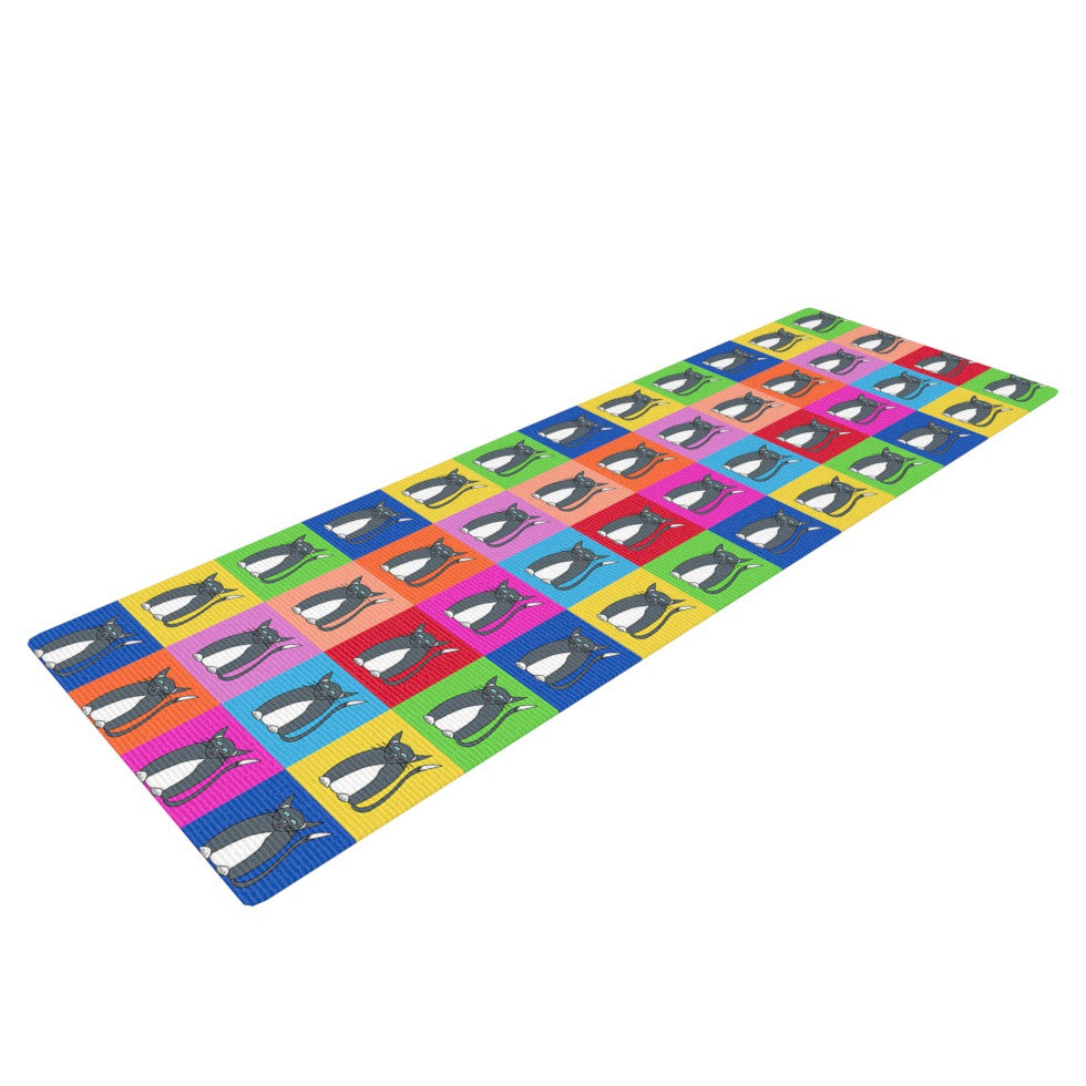 "Bruce Stanfield ""Pussy Cat I Love You"" Rainbow Yoga Mat - KESS InHouse  - 1"