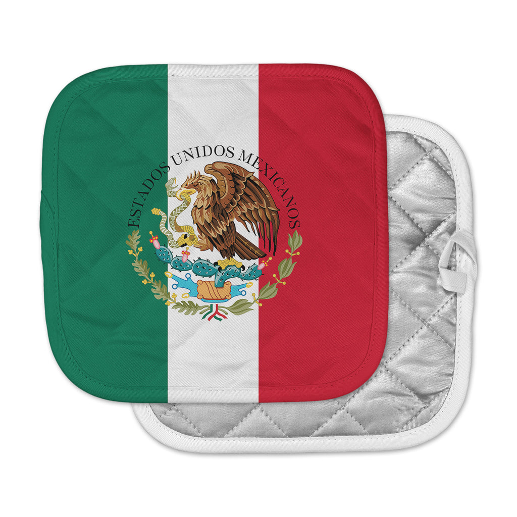 "Bruce Stanfield ""Mexico Flag And Coat Of Arms"" Red Green Pot Holder"
