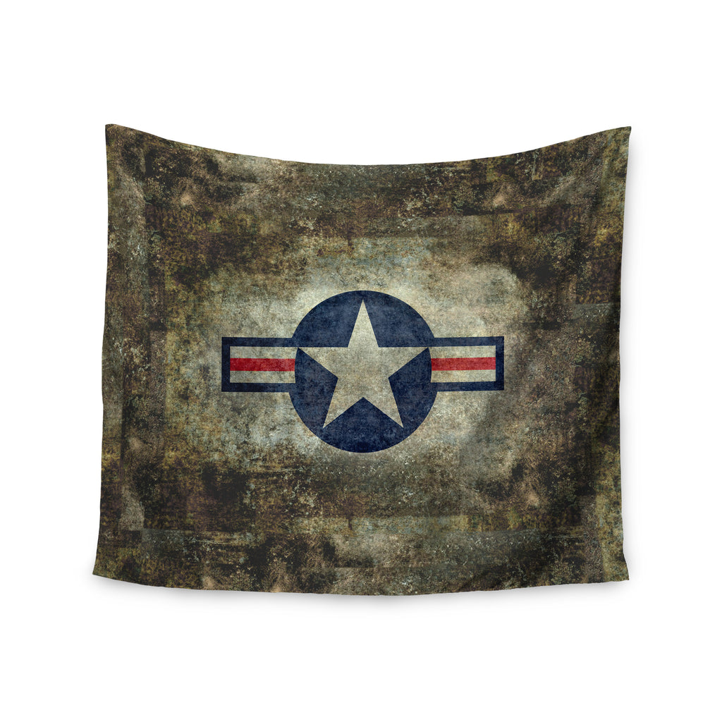 "Bruce Stanfield ""USAF Vintage Retro Style Round"" Vintage Digital Wall Tapestry - KESS InHouse  - 1"