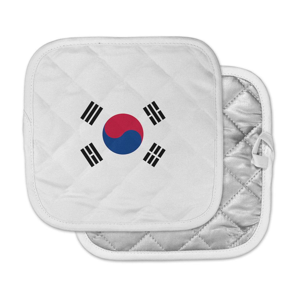 "Bruce Stanfield ""Flag of Korea"" White Digital Pot Holder"