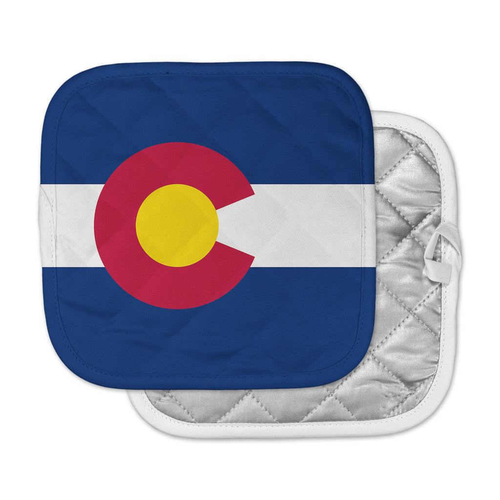 "Bruce Stanfield ""Flag of Colorado II"" Blue Red Pot Holder"