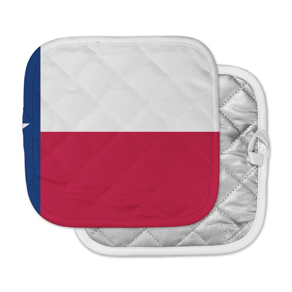 "Bruce Stanfield ""Flag of Texas"" Blue Red Pot Holder"