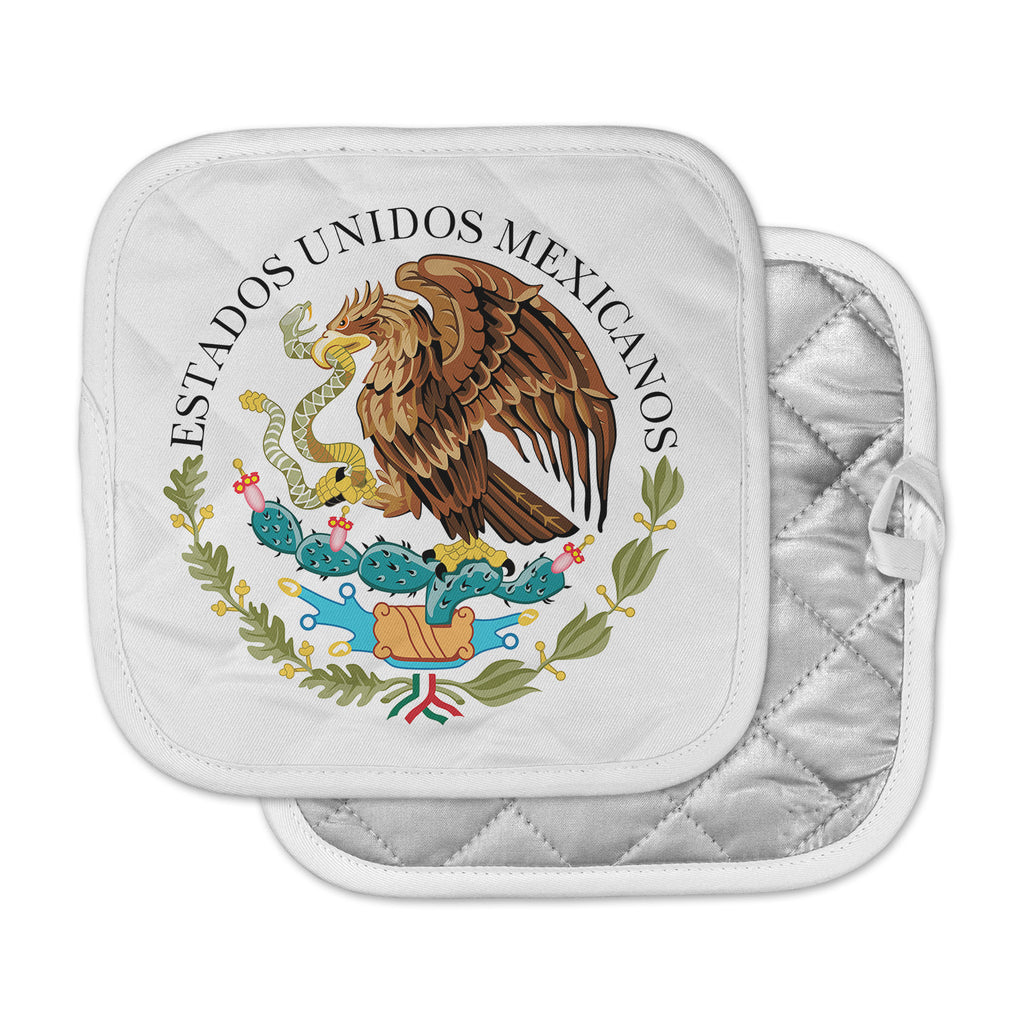 "Bruce Stanfield ""Mexico Emblem"" Brown White Pot Holder"
