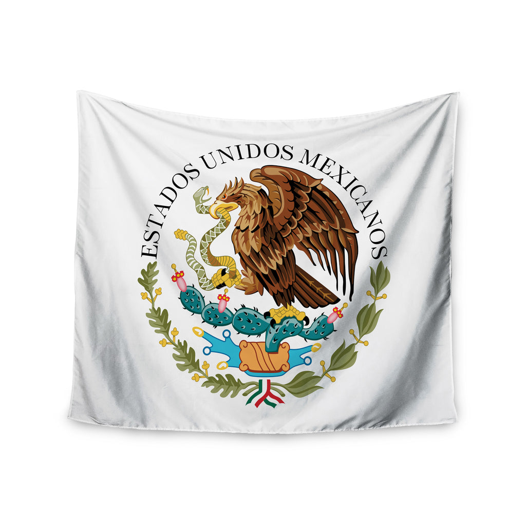 "Bruce Stanfield ""Mexico Emblem"" Brown White Wall Tapestry - KESS InHouse  - 1"