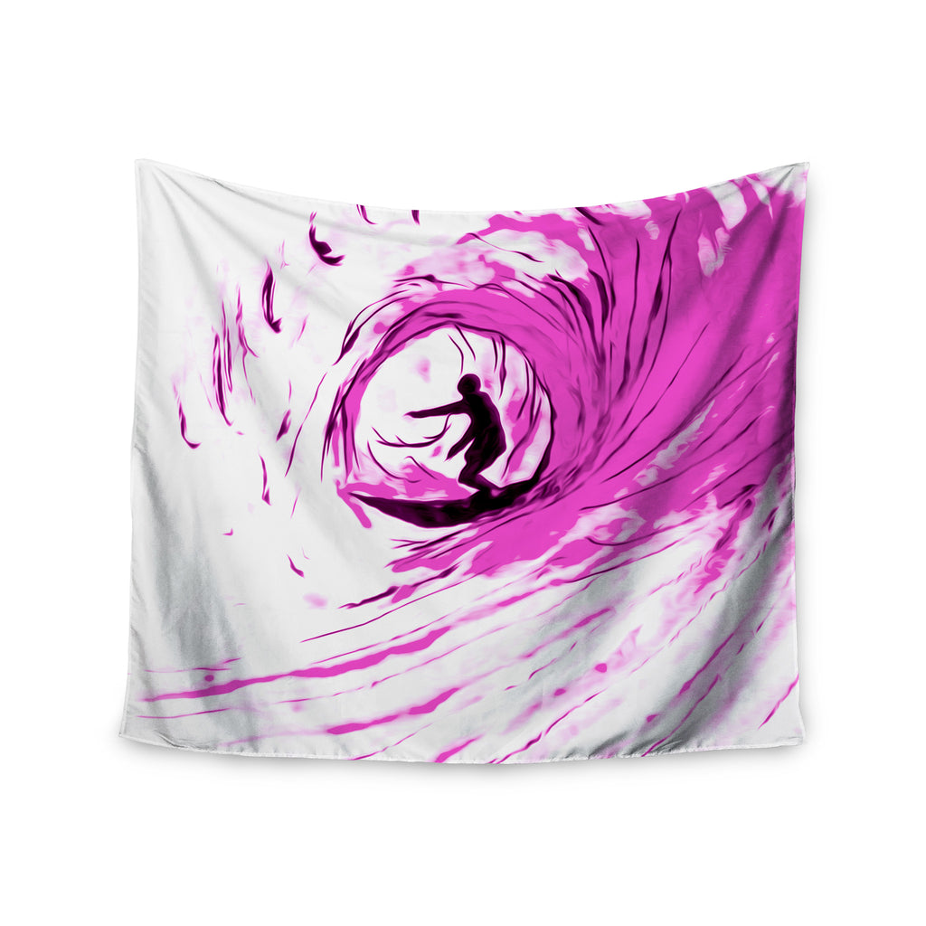 "Bruce Stanfield ""Solo Surfer"" Pink White Wall Tapestry - KESS InHouse  - 1"