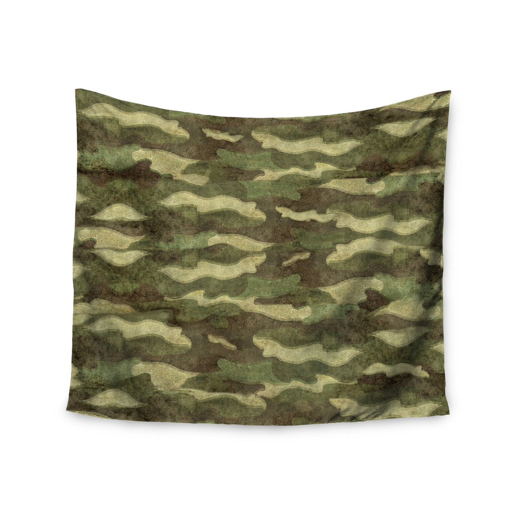 "Bruce Stanfield ""Dirty Camo"" Green Beige Wall Tapestry - KESS InHouse  - 1"