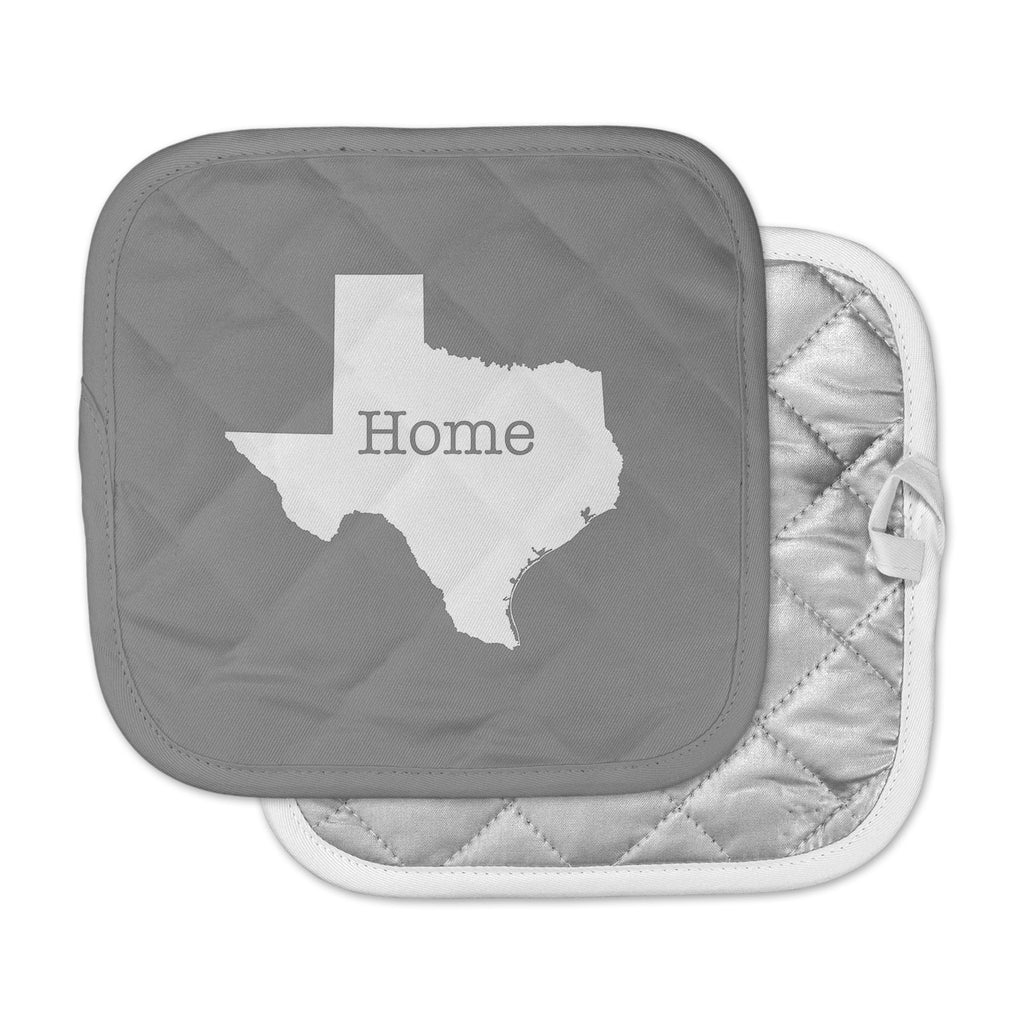 "Bruce Stanfield ""Texas Is Home"" White Gray Pot Holder"