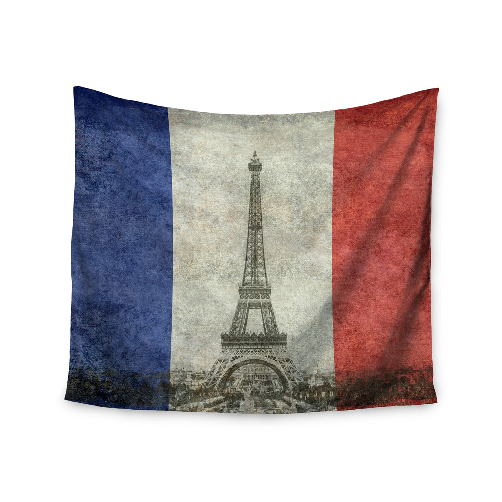 "Bruce Stanfield "" Vintage Paris"" Mixed Media Travel Wall Tapestry - KESS InHouse  - 1"