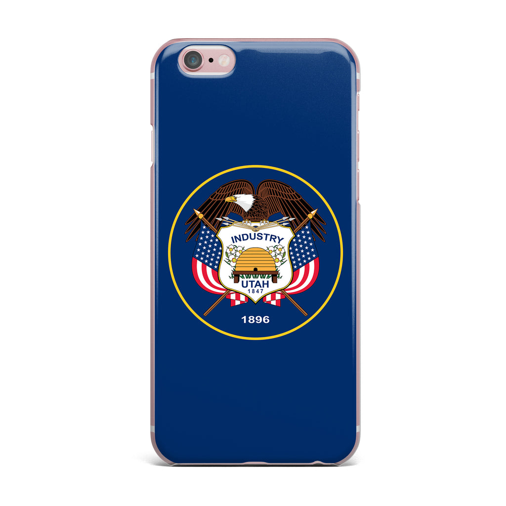 "Bruce Stanfield ""Utah State Flag Authentic"" Blue Red iPhone Case - KESS InHouse"
