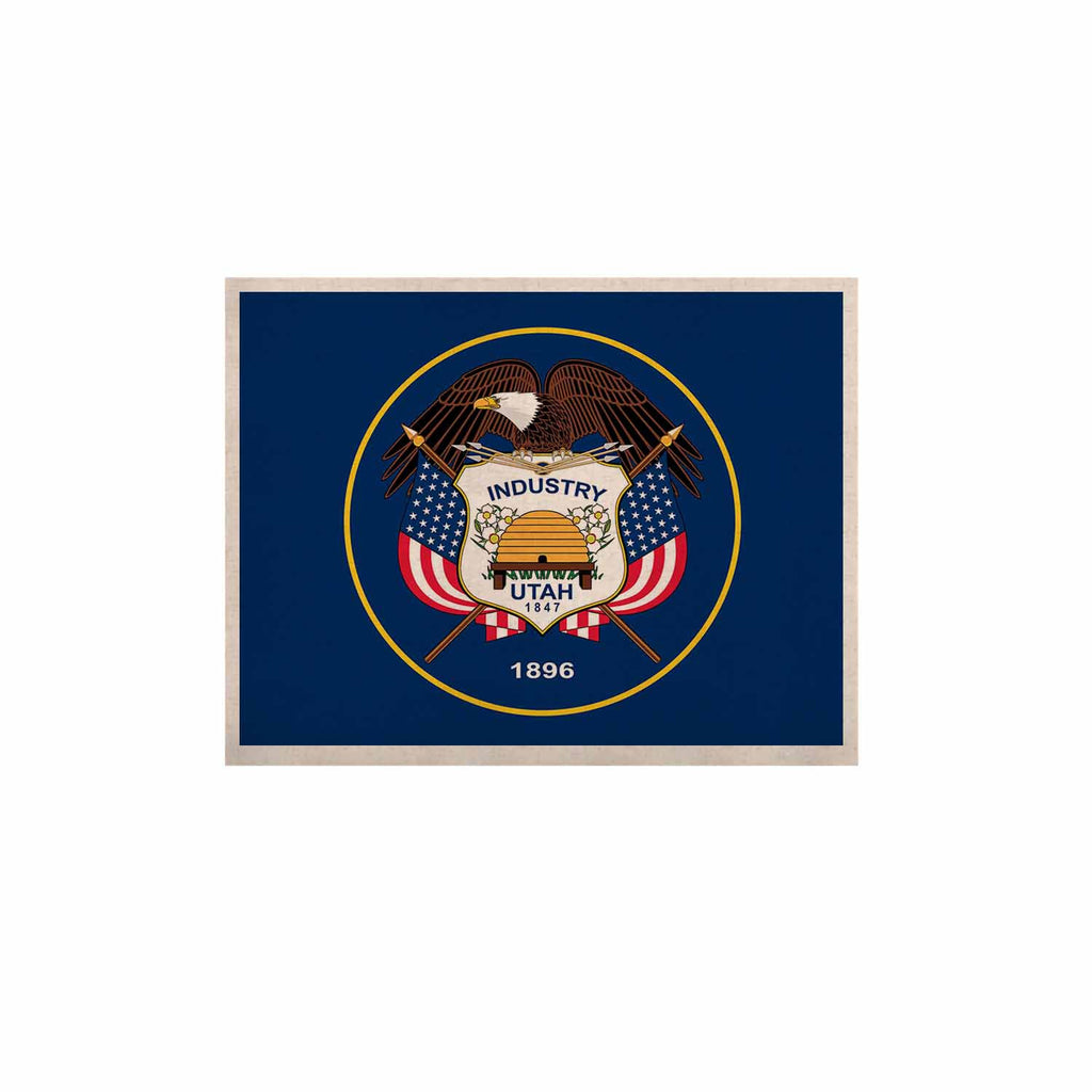 "Bruce Stanfield ""Utah State Flag Authentic"" Blue Red KESS Naturals Canvas (Frame not Included) - KESS InHouse  - 1"