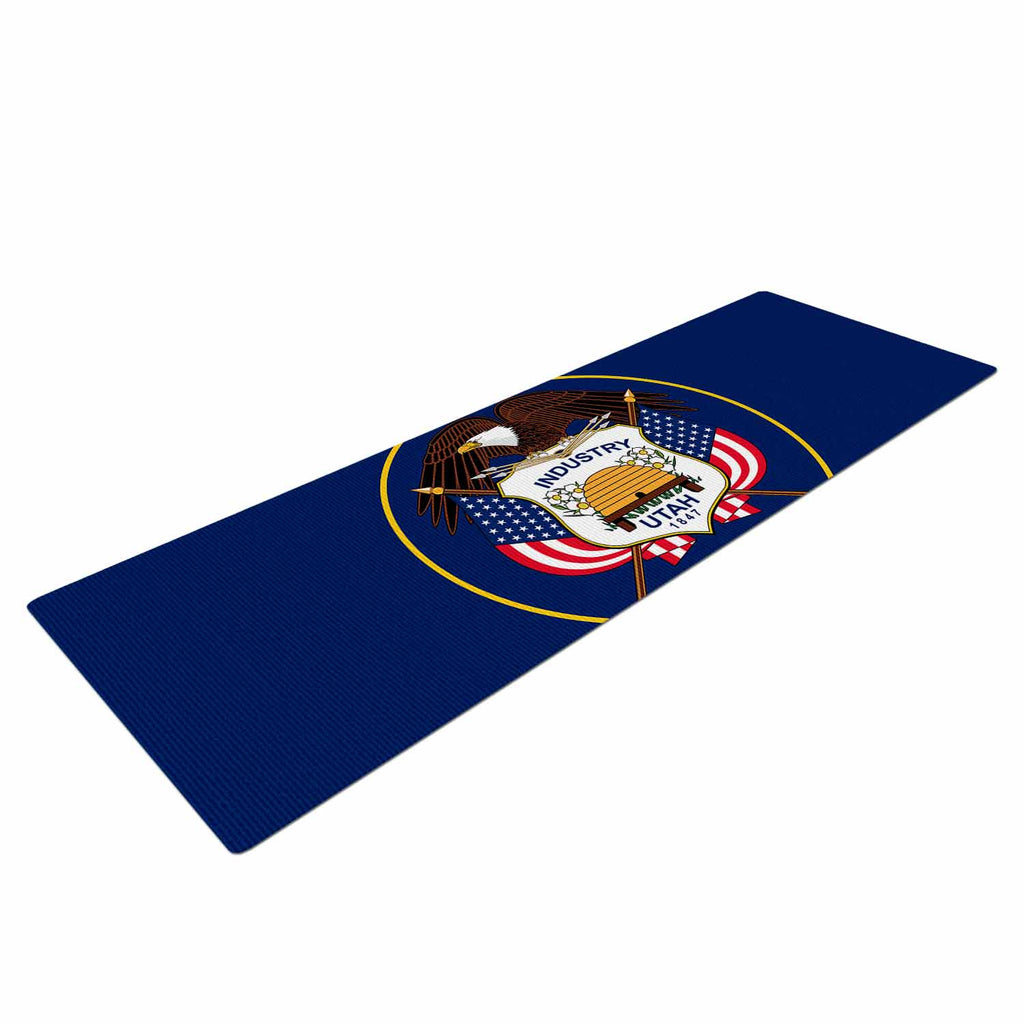 "Bruce Stanfield ""Utah State Flag Authentic"" Blue Red Yoga Mat - KESS InHouse  - 1"
