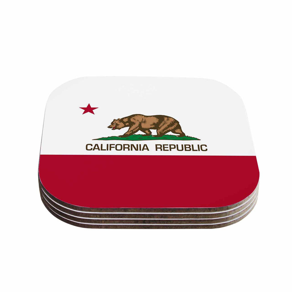 "Bruce Stanfield ""California State Flag"" Red White Coasters (Set of 4)"