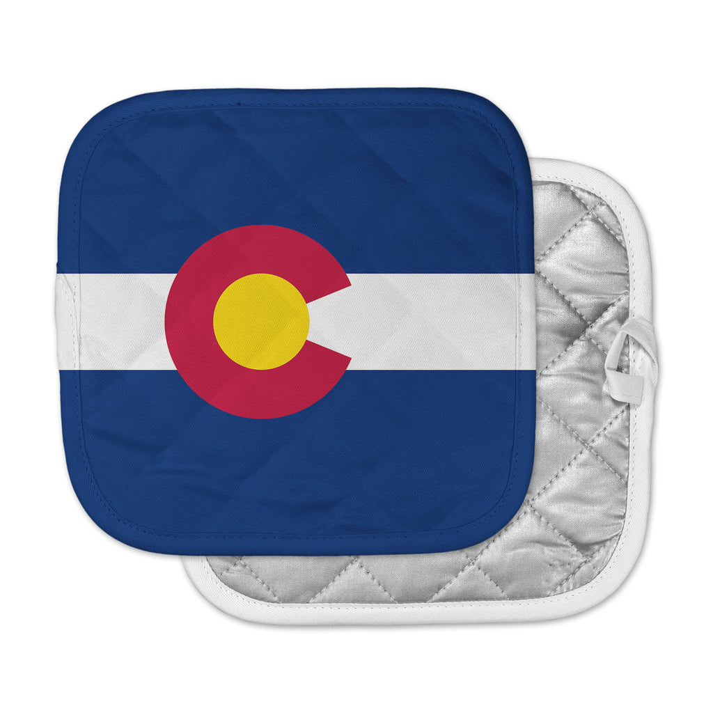 "Bruce Stanfield ""Colorado State Flag"" Blue Red Pot Holder"