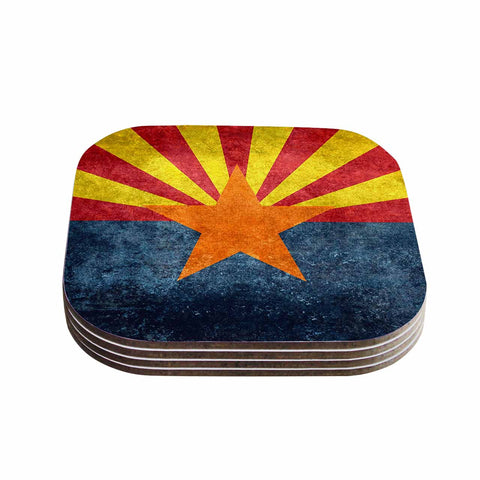 "Bruce Stanfield ""Arizona State Flag Retro Style"" Orange Blue Coasters (Set of 4) - Outlet Item"