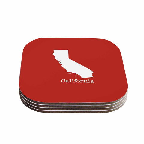 "Bruce Stanfield ""California State On Golden Red"" Red White Coasters (Set of 4) - Outlet Item"