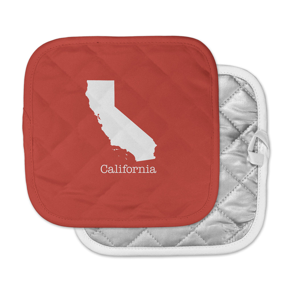 "Bruce Stanfield ""California State On Golden Red"" Red White Pot Holder"