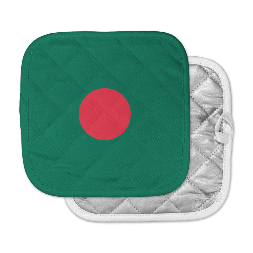 "Bruce Stanfield ""Flag Of Bangladesh"" Red Digital Pot Holder"