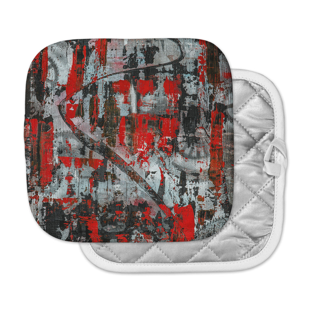 "Bruce Stanfield ""Zinger In Red"" Black Abstract Pot Holder"