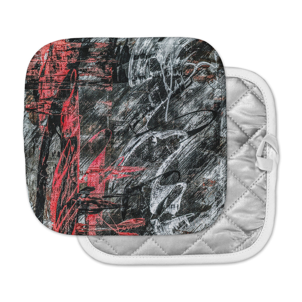 "Bruce Stanfield ""Areus"" Red Abstract Pot Holder"