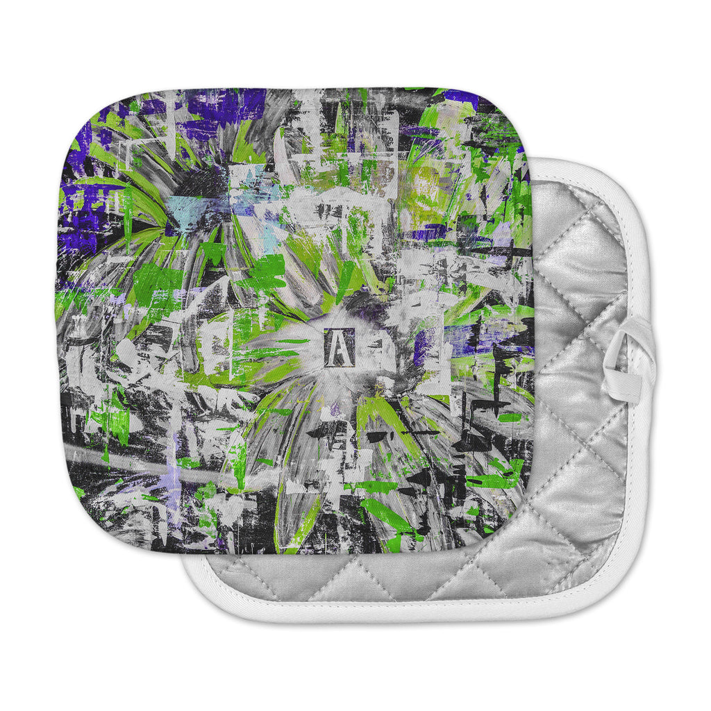 "Bruce Stanfield ""Life Through Adversity 2"" Green Abstract Pot Holder"