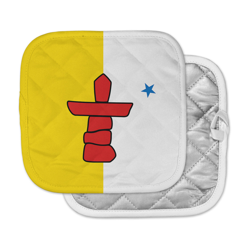 "Bruce Stanfield ""Flag Of Nunavut"" Yellow Tribal Pot Holder"