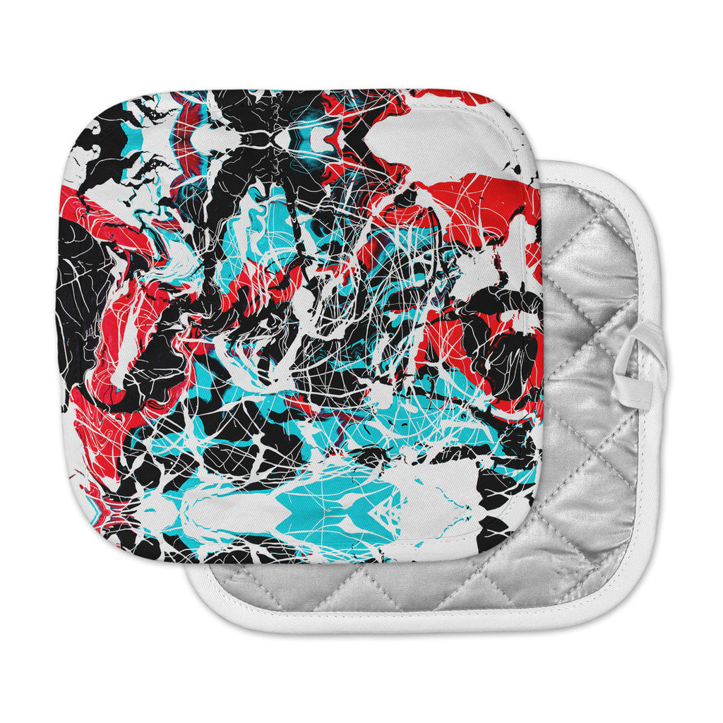 "Bruce Stanfield ""Embryo"" Teal Red Pot Holder"