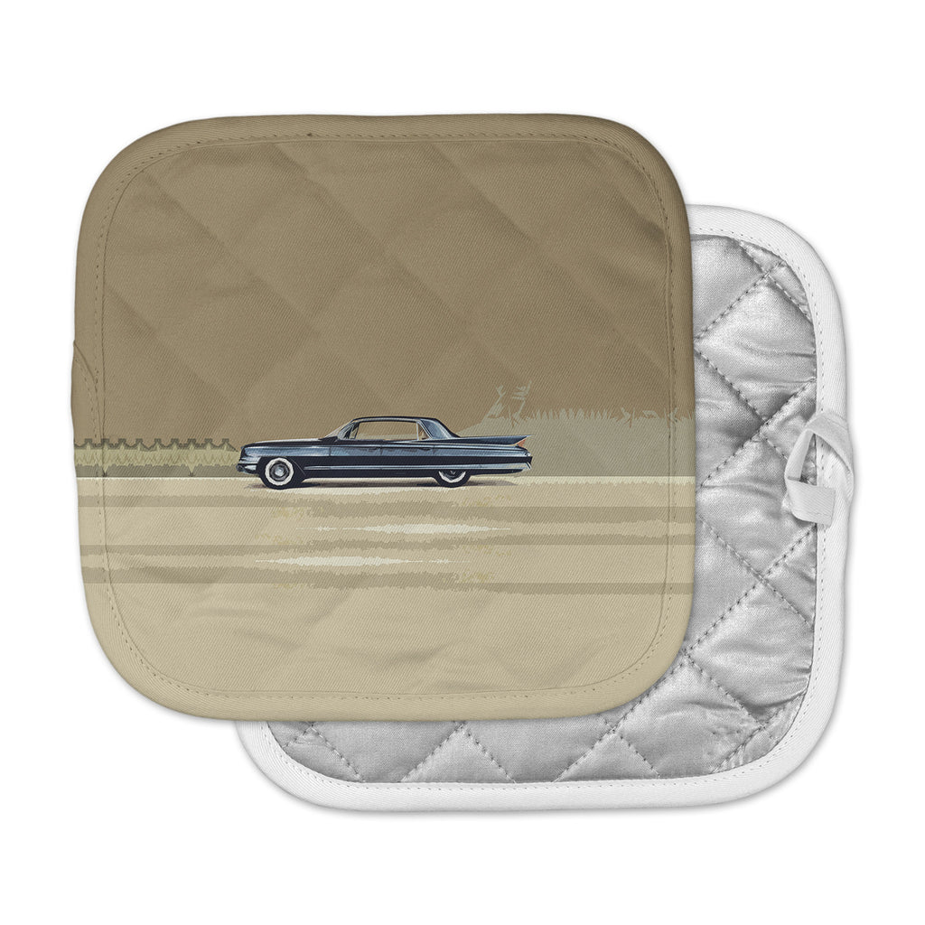 "Bruce Stanfield ""Cadillac Fleetwood 1961"" Beige Olive Digital Pot Holder"