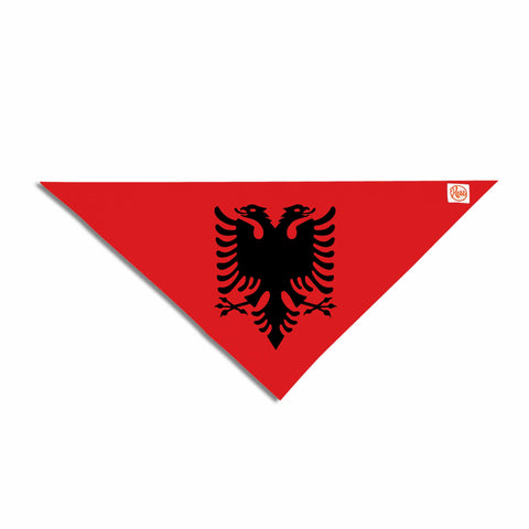 "Bruce Stanfield ""Flag Of Albania"" Black Red Digital Pet Bandana - Outlet Item"